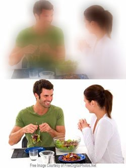 blurred picture and clear picture of a couple talking
