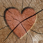 image of cracked wooden heart